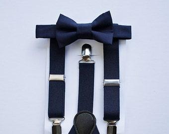 Boys Navy Bow Tie Suspenders , Ring Bearer Outfit, Navy Wedding Bow Tie Suspenders Set, Baby Boy Suspenders, Boys Bow Tie, Boys Suspenders