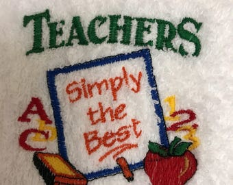 Hand Towel - Embroidered Teachers Simply the Best