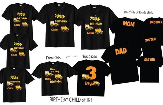 Family Birthday Shirts with Construction Theme on BLACK Shirts for Third Birthday 5 Shirt Set Birthday Crew Shirts OmtI986KE