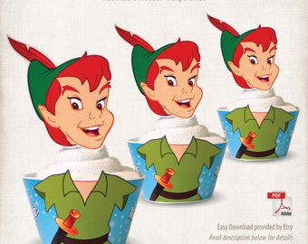 INSTANT DOWNLOAD, Printable Peter Pan Cupcake Toppers & Wrappers, Digital File, Neverland, Pirate