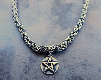 Byzantine Chainmaille Necklace - Stainless Steel Chainmaille Necklace - Pentacle Charm Necklace
