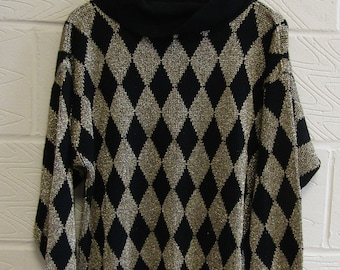 80s Gold & Black Harlequin Pattern Rollneck Jumper