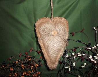 5 Inch Burlap Heart Ornament with Jute bow and button Primitive