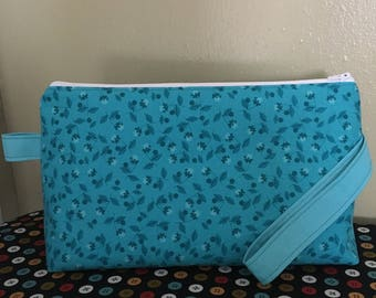 Large Project Bag- Turquoise Flowers