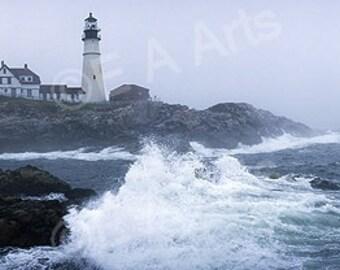 Portland Head Light Cape Eliz Maine Fog Maine Panoramic  Photography-Maine Color Art Print-Maine Photographer Paul Vose
