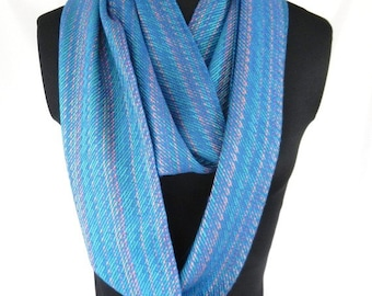 Handwoven Blue Striped Infinity Scarf, Bamboo Hand Loomed Loop Scarf