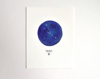 Taurus Zodiac Constellation - Single Notecard