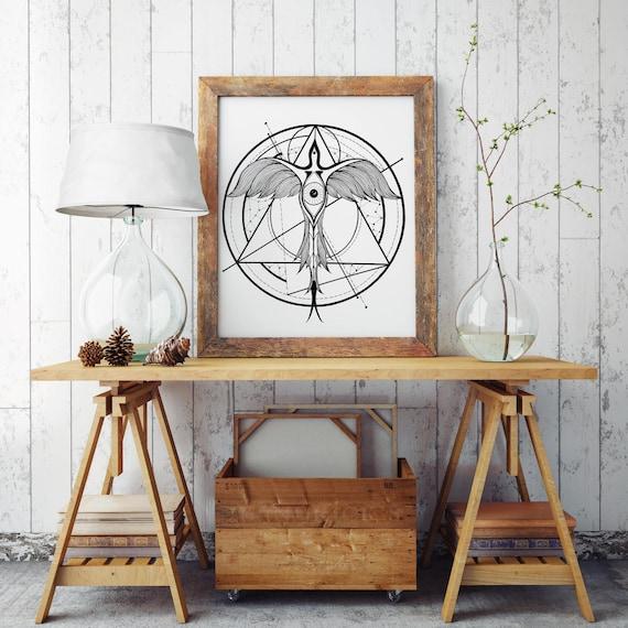Phoenix Ascending | Paper poster | Geometric tattoo art | Black and white wall decor | Alchemy | Horus Third Eye | ZuskaArt
