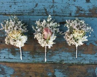 Blush Rose Garden Dried Flower Hair Grips Set of 3