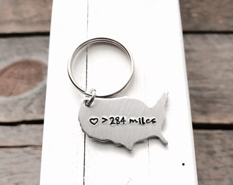 Long Distance relationship gift USA keychain personalized gift  Boyfriend Gift Going away present Love is greater than distance