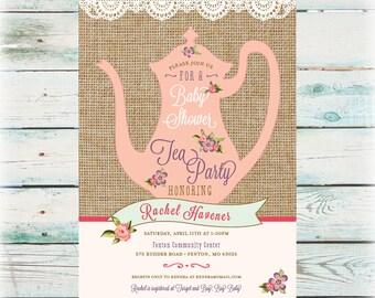 Printable Tea Party Baby Shower Invitation - Digital File