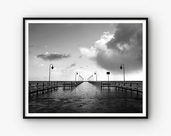 Pier Print, Docks Print, Pier Photography Print, Black and White Printable Pier Photo, Pier Wall Art, Modern Print, Monochrome Print,