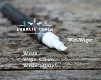 White Chalk Marker Pen,WET-WIPE Chisel Tip,6mm,Made in Japan,Non Toxic Chalk Pen,Chalk Alternative,Chalkboard Artist Markers,Chalkboard Pens