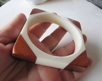 Vintage White Lucite and Wood Square Bangle Bracelet