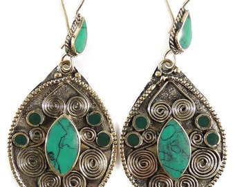 Earrings Silver Turquoise Insets Afghanistan 111905
