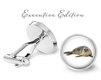 Seal Cufflinks - Basking Seal Cuff Links - Sea Life Cufflink (Pair) Lifetime Guarantee (S1393)