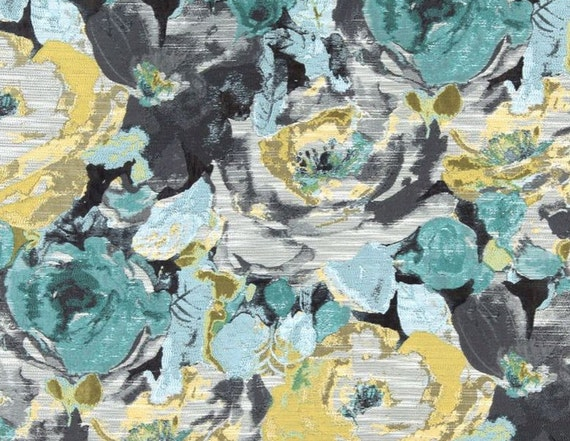 Abstract Turqouise Grey Upholstery Fabric Modern Floral