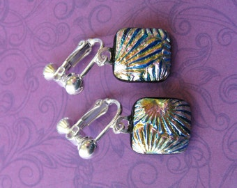 Multicolored Clip on Earrings, Dichroic Clip Earrings, Fused Glass Jewelry, Multicolored Jewelry - Dawson - 1930 -1