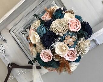 Custom Wood Flower Bouquet - Sola Flower Bouquet - Wedding Bouquet - Wood Flower Bouquet - Eco Friendly - Silk Flower Alternative