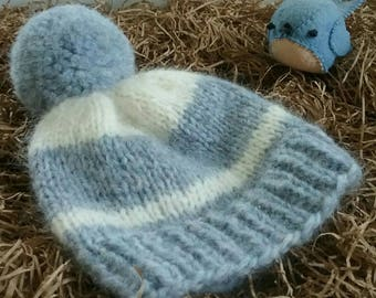 Newborn Blue and White Stripe Hat/Newborn Knit Hat/Baby Hat/Hand Knit Newborn Hat