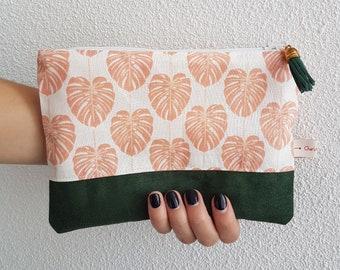 Monstera leafs, toiletries bag green nature, small size cotton pouch, beauty bag, make-up bag