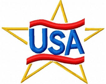 USA Machine Embroidery Design - Instant Download