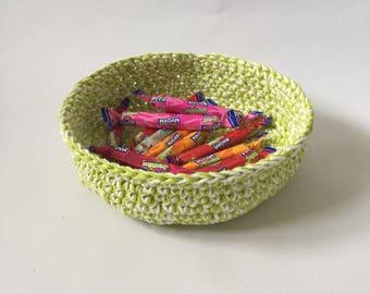 Cotton Bowl - Textile Bowl - Crochet Bowl - Neon Green Bowl - Easter Bowl - Easter Egg Bowl - Easter Basket
