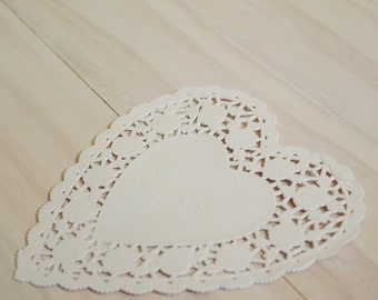 "Spring Sale Heart Doilies 4"" White french lace scalloped edged Qty 25"