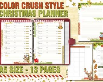 Printable Christmas Planner a5 printable holiday planner Color crush style gift tracker wishlist