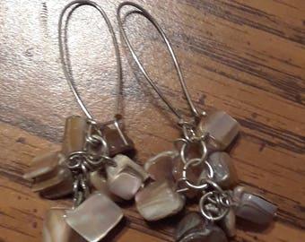 Silvertone mother of pearl beaded dangle earrings