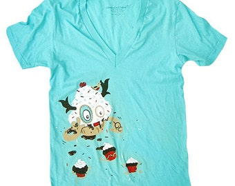 Cupcake Monster T-Shirt - Large V-neck