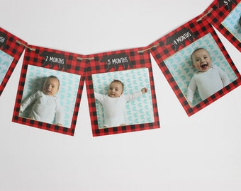 Lumberjack Monthly Photo banner for 4x4 photos, buffalo plaid First birthday photo banner, READY TO SHIP