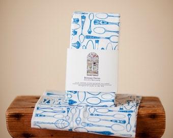 Screen Printed Tea Towel // Spoons // Cotton Teatowel // Kitchen // Housewarming Gift