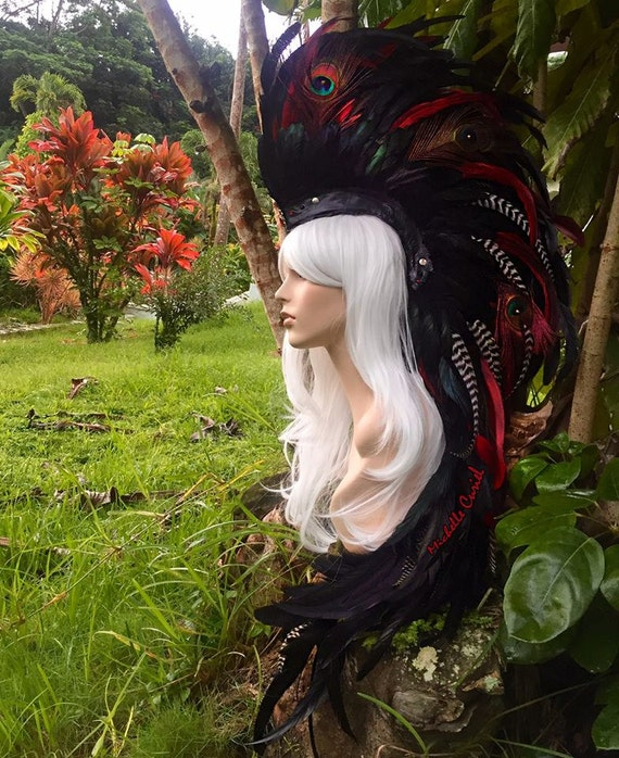 "Feather Mohawk Headdress  - ""Lokelani"""
