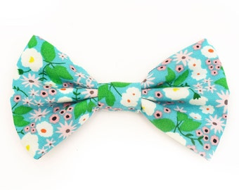 The Joval Bow Tie — Dog Bowtie, Brooklyn Bowtied, Floral, Flower, Girly Ring Bearer, Collar, Outfit, Funny, Mint, Teal