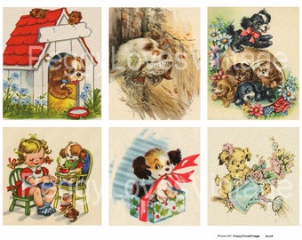 Awesome Dogs 2 Digital Collage from Vintage Greeting Cards - Instant Download