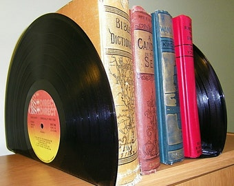 Bookends made from Records, Upcycled Vintage Vinyl Record Bookends, Retro, Vintage Home Decor,