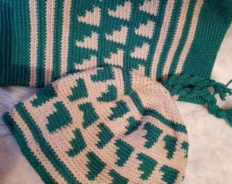 Hand Crocheted, Green & Beige, Winter Hat and Matching Cowl Set