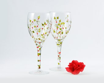 Hand painted wine glasses - Set of 2 high quality white wine glasses - Liane Collection