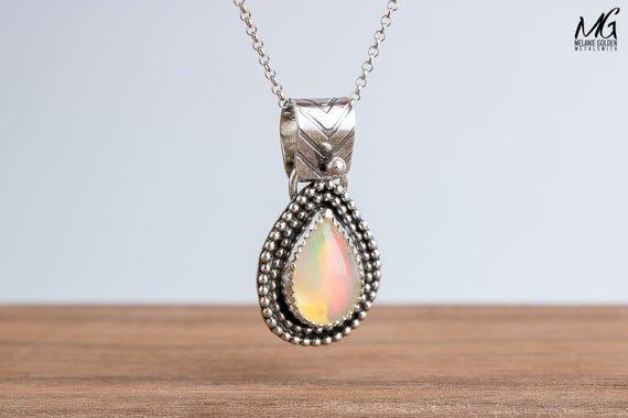 Colorful Ethiopian Opal Gemstone Necklace in Sterling Silver with Double Beaded Border