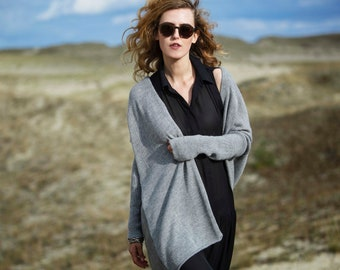 Oversized cardigan woman Knit cardigan 100% alpaca wool cardigan long gray cardigan plus size cardigan blue maxi knitted coat open cardigan