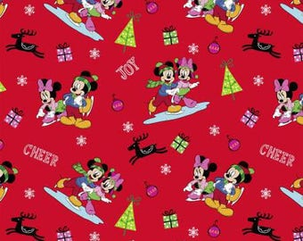 """End of Bolt, Disney Mickey and Friends Home for the Holidays Cotton Fabric from Springs Creative, Mickey Mouse, Minnie Mouse, 17""""x 44"""""""