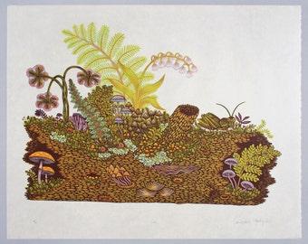 Log - Woodcut Print, Woodblock Print by Tugboat Printshop