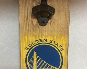 Golden State Warriors wood handpainted bottle opener, cast iron opener, basketball, NBA, guy gift, mancave decor, nba championship