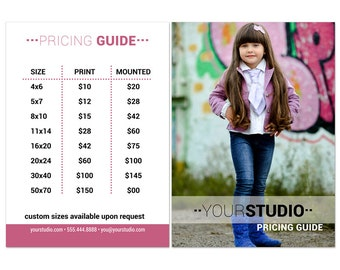 Photography Price List | Price Guide Photoshop Template 002 for Professional Photographers