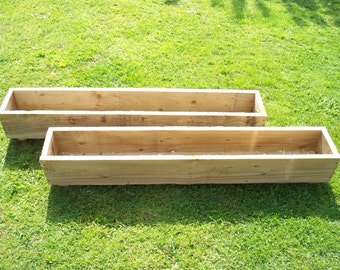 Handmade 2 X Tanalised Wooden Garden Planter, 600, 900 Or 1200mm Long, Wood