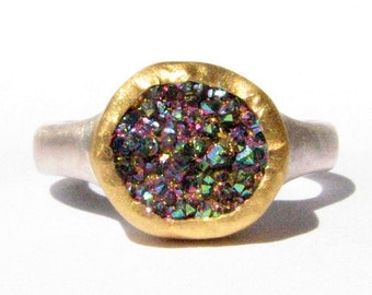 Rainbow Druzy Quartz Gemstone Ring - 24k Solid Gold and Silver Ring - Made to Order in Your Size.
