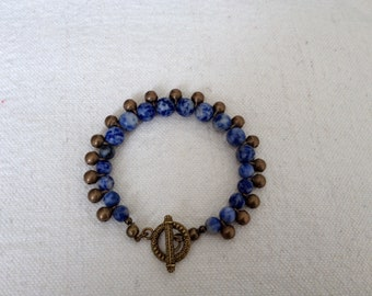 Bracelet Sodalite beads and bronze Bohemian bells