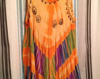 FREE SHIPPING!!!  Sleeveless Embroidered Tie Dyed Shift Dress/Beach Coverup With Asymmetrical Hem  Free Size