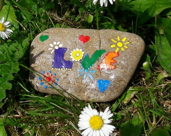 Hippy LOVE Painted Rock